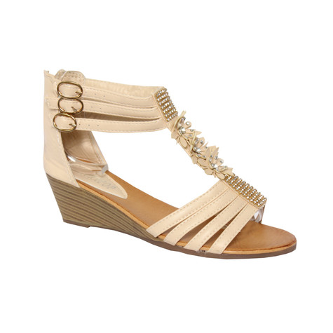 Jewel Detail T With Beige Strap Sandal wXNO80Pnk