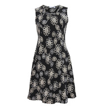 Zapara Black White Flower Pattern Sleeveless Dress