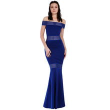 City Goddess Royal Blue Layered Fish Tail Dress