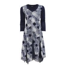 SophieB Navy Circle V-Neck Long Sleeve Dress