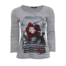 SophieB Grey & Red Flower Print Round Neck Top