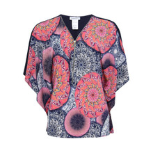 Zapara Pink Pattern Zip Front Top