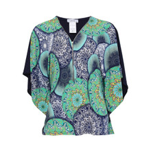 Zapara Green Floral Pattern Top