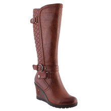 Susst Cognac Full Length Quilted Look Boot