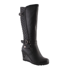 Susst Black Full Length Quilted Look Boot