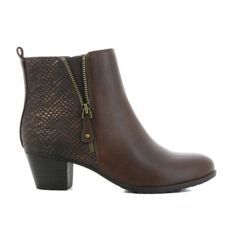 CORTINA Brown Snake Print Ankle Boot