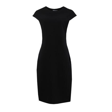 Zapara Plain Black Round Neck Dress