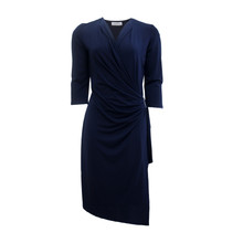 Zapara Navy V-Neck Wrapped Dress with Buckle Detail