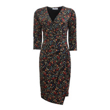 Zapara Black Floral Print V-Neck Wrap Dress