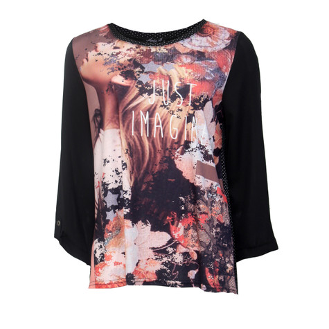 SophieB Orange Digital Graphic Print Top