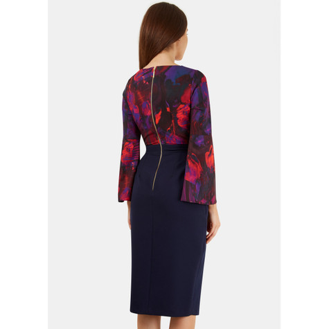 Closet Digital Abstract 2 in 1 Contrast Tie Front Wrap Dress