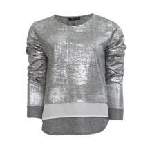 SophieB Silver Metallic Round Neck Top