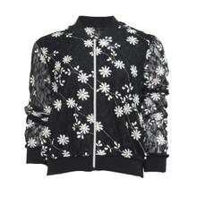 SophieB White Floral Pattern Bomber Jacket