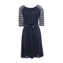 Zapara Navy Lace Pleat Dress