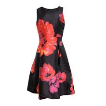 Zapara Black Orange & Red Floral Pattern Print Dress