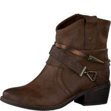 Marco Tozzi Cognac Block Heel Ankle Boot