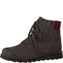 Marco Tozzi Brown Laced Knit Top Ankle Boot