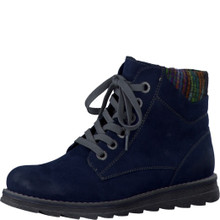 Marco Tozzi Navy Laced Knit Top Ankle Boot
