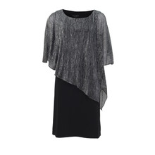 Connected Black & Silver Cape Dress