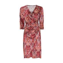 Zapara Wine Paisley Print V-Neck Dress