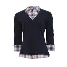 Twist Navy & Pink Check 2 in 1 Top