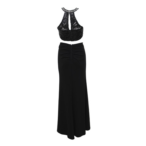 My Michelle Black Lace 2 Piece Long Dress