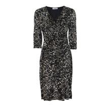 Zapara Black & Beige V-Neck Wrapped Dress