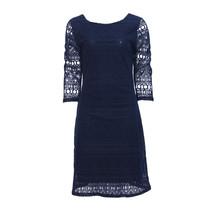 Zapara Navy Lace Exposed Zip Dress