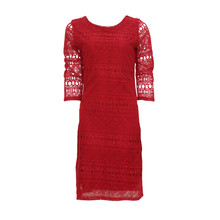 Zapara Red Lace Exposed Zip Dress