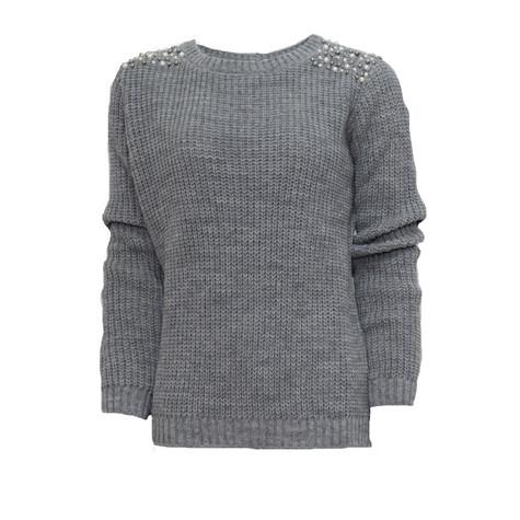Twist Silver Pearl Detail Knit