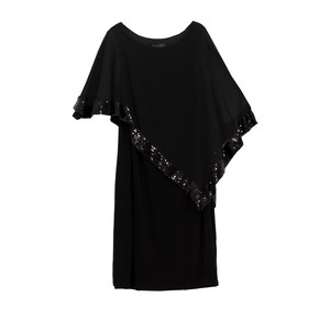 Scarlett Black Mesh Cape Sequence Dress