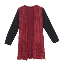 SophieB Wine Crinkle Black Sleeve Knit
