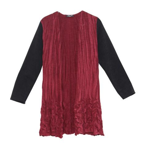 SophieB Wine Crinkle Black Sleeve Knit