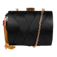 Dice Black Hard Case Clutch Bag
