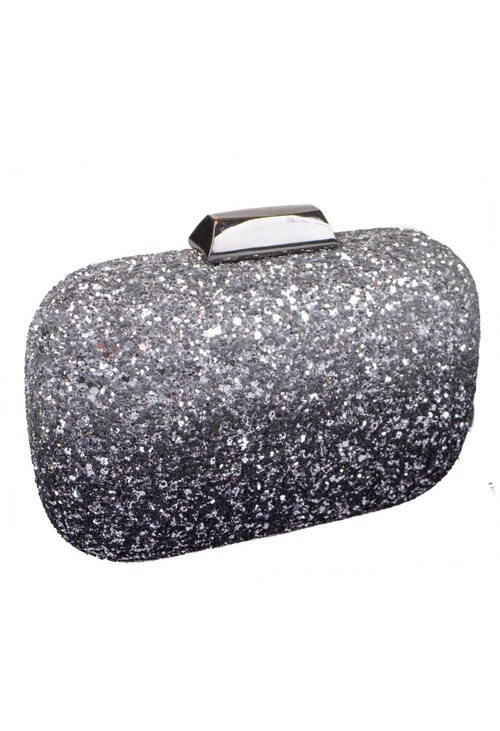 Dice Silver Shell Clutch Bag
