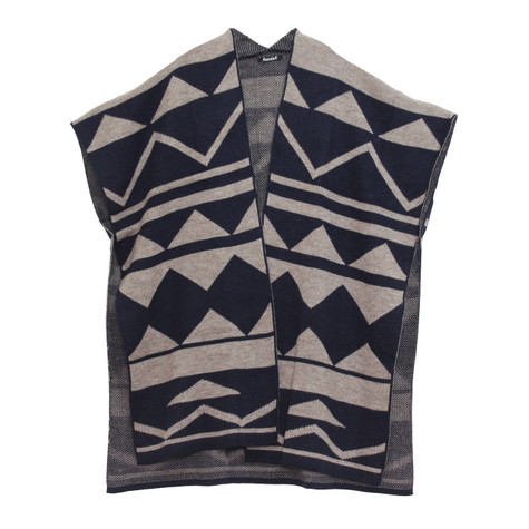 Twist Navy & Taupe Throw Over Knit