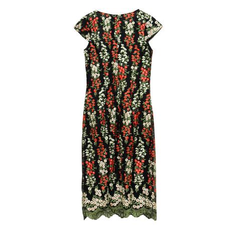 Zapara Black Red Flower Dress