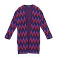 Twist Navy & Red Print Open Knit