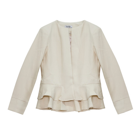 Zapara Cream Short Crop Jacket