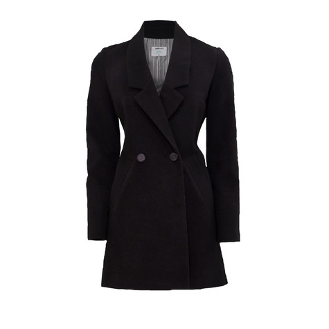 New Caro Black Button Detail Winter Coat