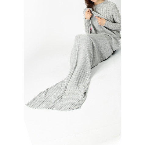 Missi Grey Knitted Mermaid Blanket with Buttons