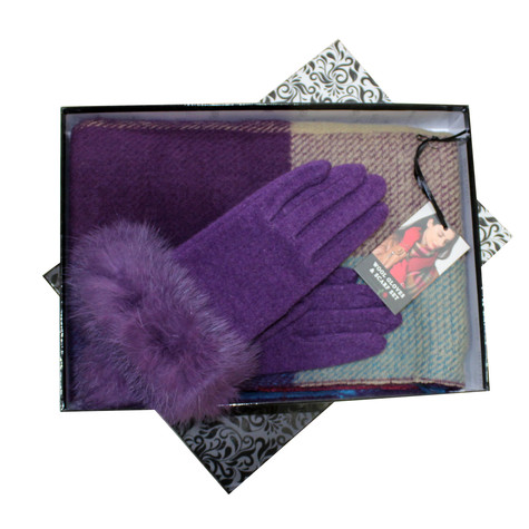 Something Special Purple Glove & Scarf Set