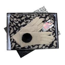 Something Special Beige & Black Glove & Scarf Set