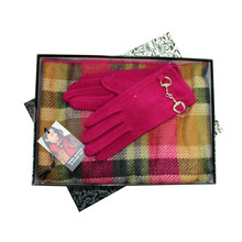 Something Special Pink Check Glove & Scarf Set