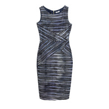 Zapara Grey & Blue Stripe Sleeveless Dress