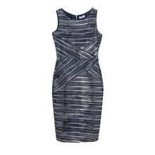 Zapara Grey & Blue Stripe Sleeveless Dress