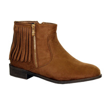 Style Shoes Camel Micro-Fibre Flat Fringe Tassel Boot