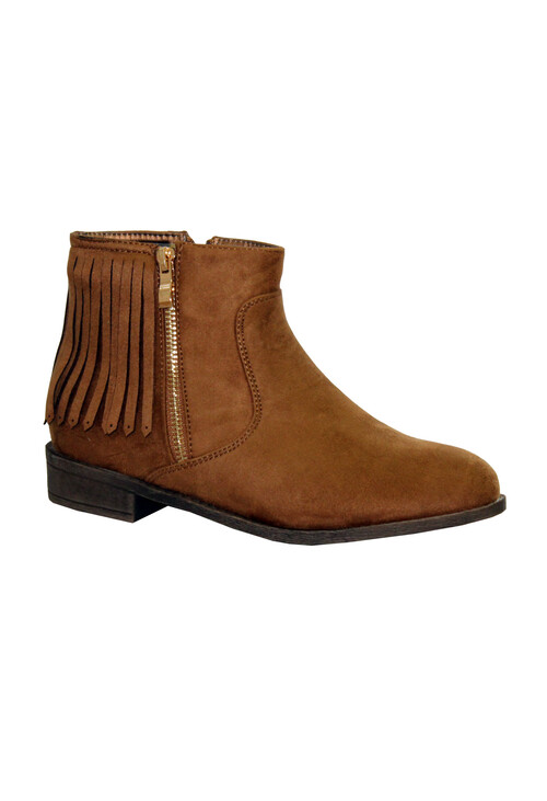 Style Shoes Camel Micro-Fibre Flat Fringe Tassel Boot