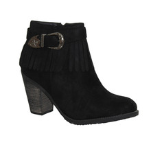 Style Shoes Black Micro-Fibre Western Style Boot