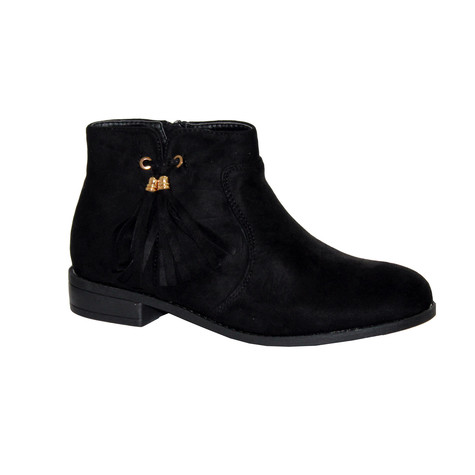 Style Shoes Black Micro-Fibre Boots With Tassel Detail